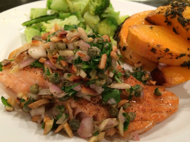Oven Baked Salmon with Toasted Almond and Parsley Salsa